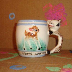 Other - Vintage Kitsch Child's Always Drink Milk Deer Mug